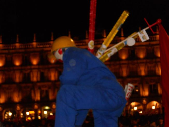 Just as the Bull Fighter kills the bull, the Spanish government is killing the workers.